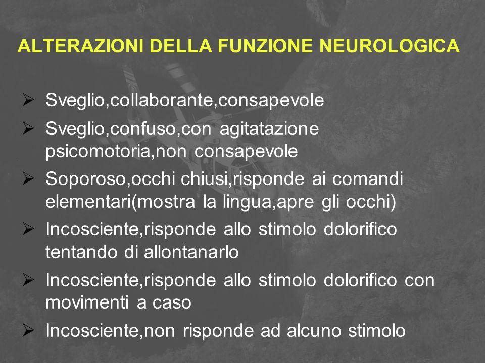 ALTERAZIONI DELLA FUNZIONE NEUROLOGICA