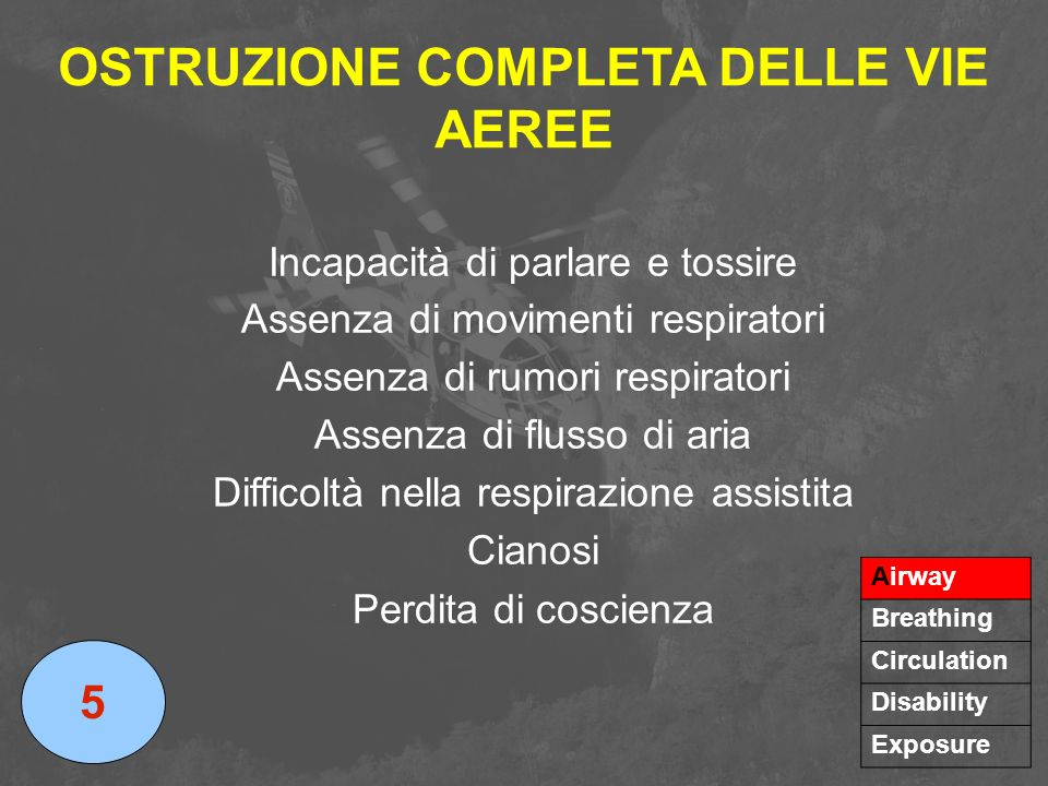 OSTRUZIONE COMPLETA DELLE VIE AEREE