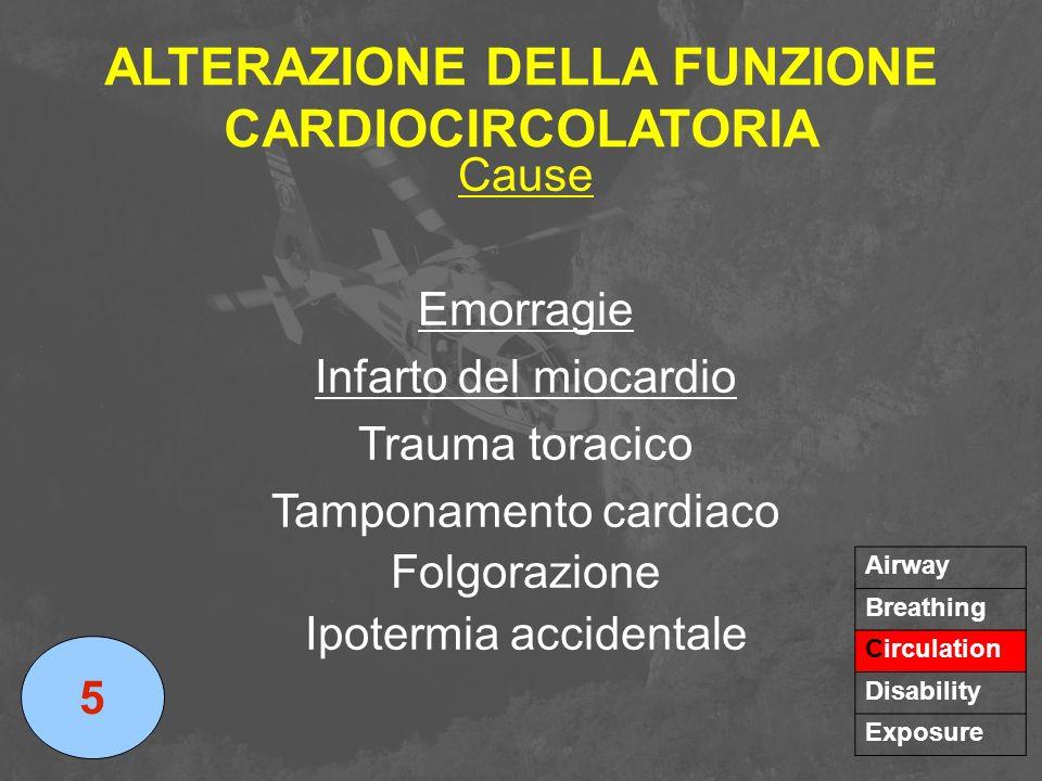 ALTERAZIONE DELLA FUNZIONE CARDIOCIRCOLATORIA