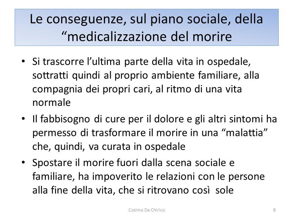 Le conseguenze, sul piano sociale, della medicalizzazione del morire