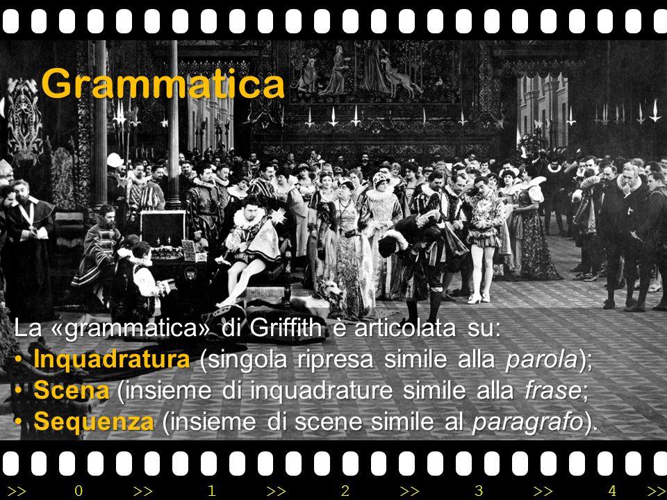 Grammatica La «grammatica» di Griffith è articolata su: