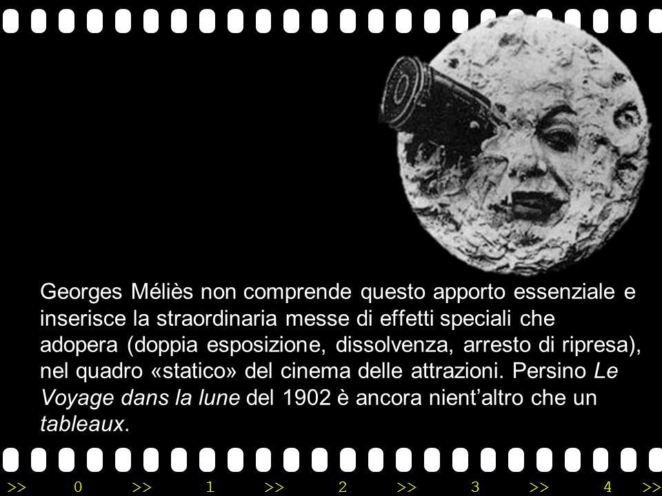 Georges Méliès non comprende questo apporto essenziale e inserisce la straordinaria messe di effetti speciali che adopera (doppia esposizione, dissolvenza, arresto di ripresa), nel quadro «statico» del cinema delle attrazioni.