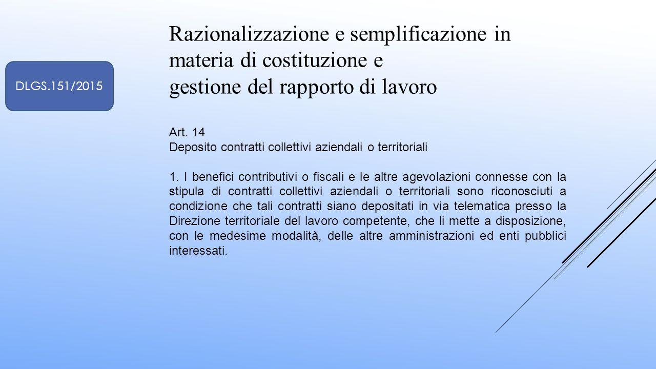 Razionalizzazione e semplificazione in materia di costituzione e