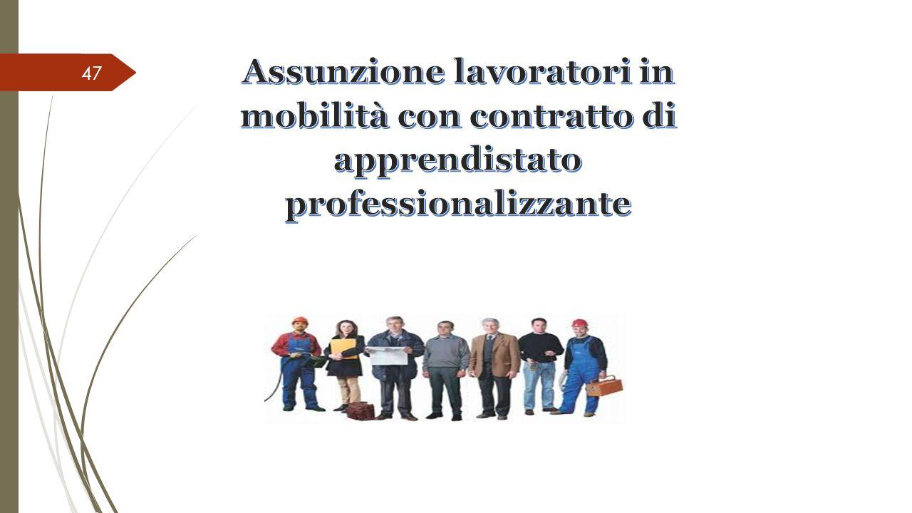 Assunzione lavoratori in mobilità con contratto di apprendistato professionalizzante