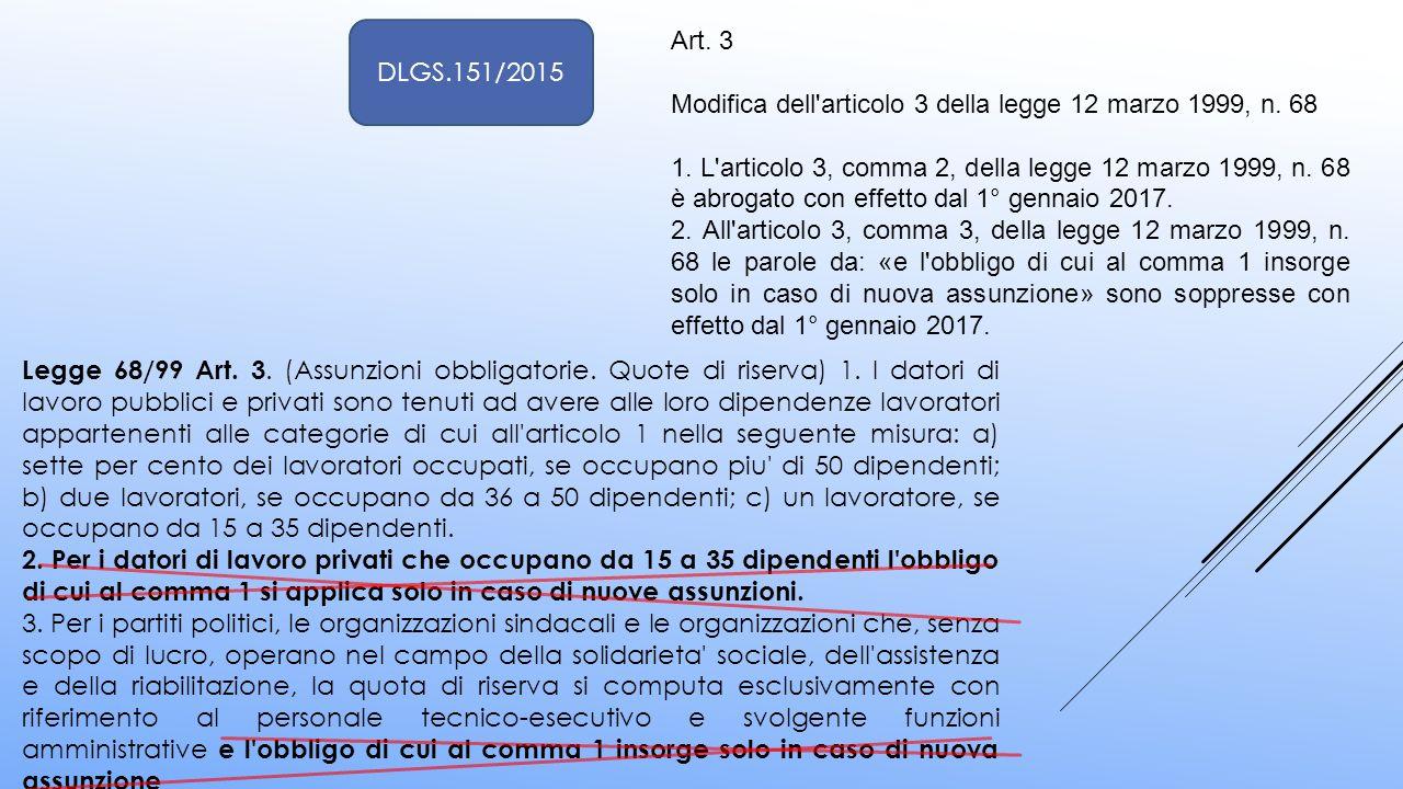 DLGS.151/2015 Art. 3. Modifica dell articolo 3 della legge 12 marzo 1999, n. 68.