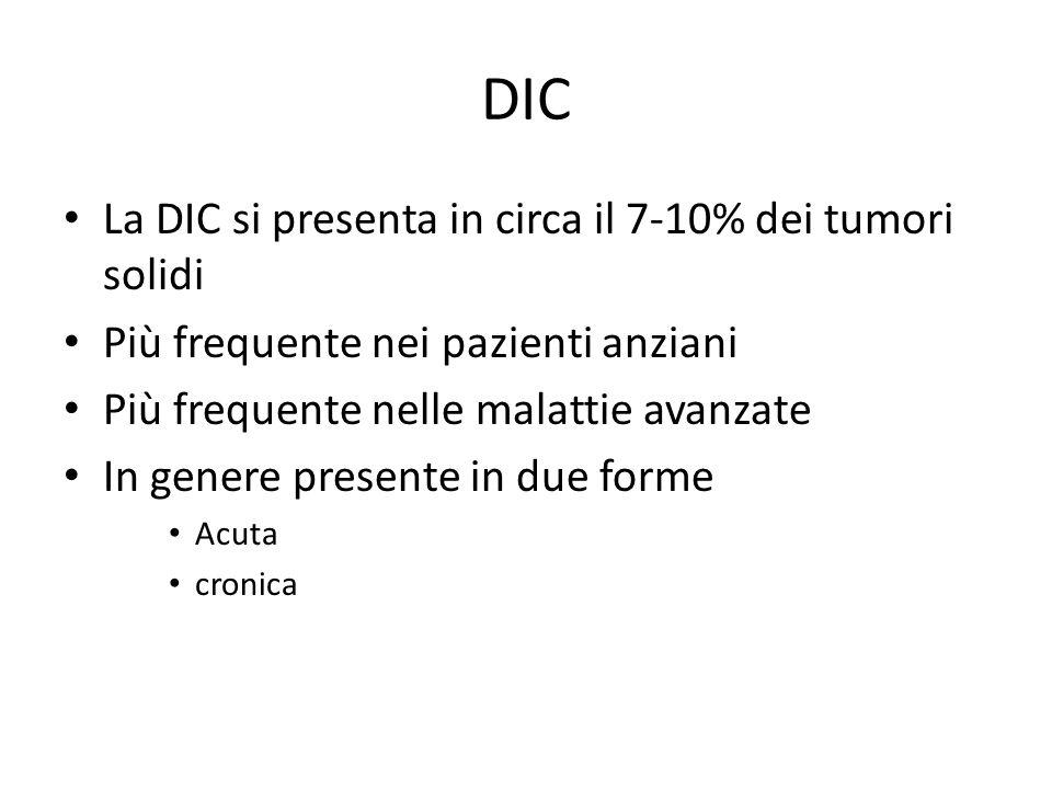 DIC La DIC si presenta in circa il 7-10% dei tumori solidi