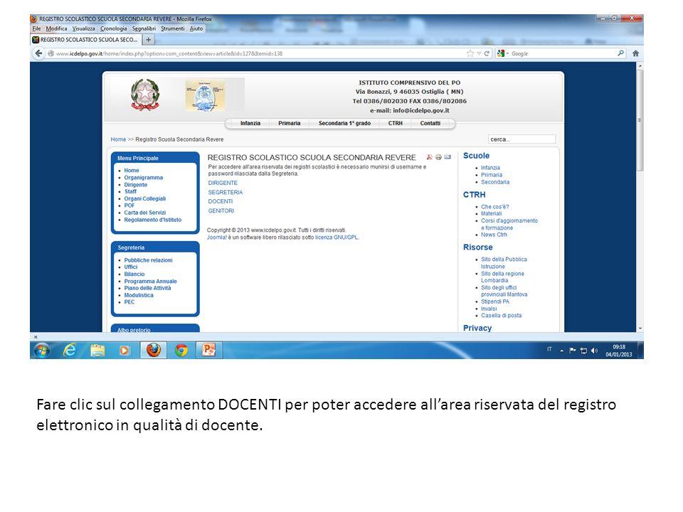 Fare clic sul collegamento DOCENTI per poter accedere all'area riservata del registro elettronico in qualità di docente.