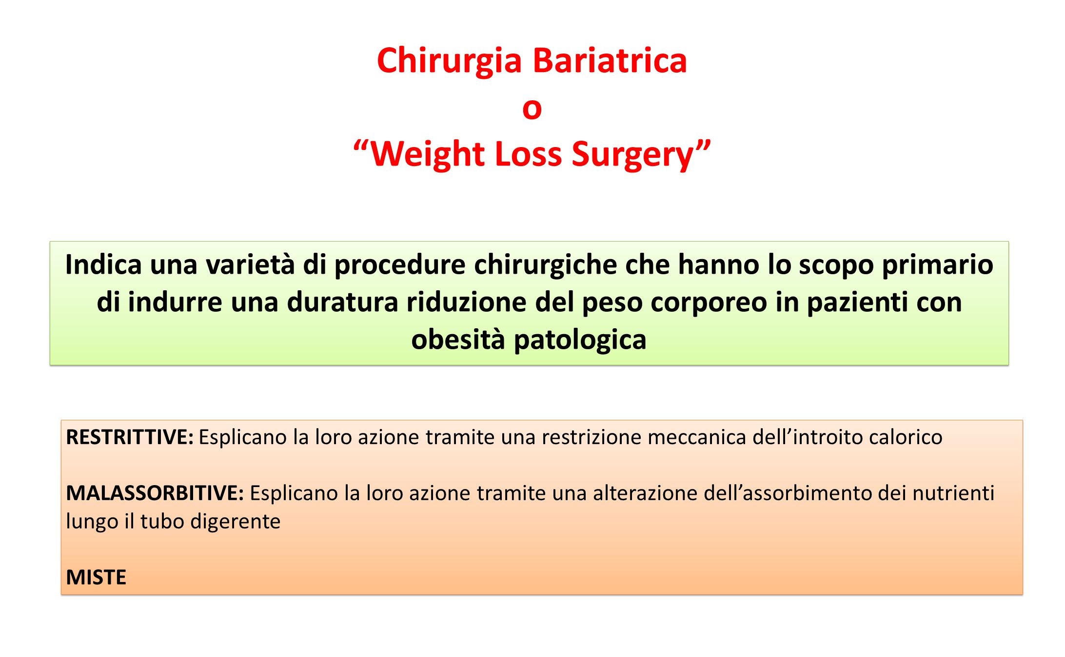Chirurgia Bariatrica o Weight Loss Surgery