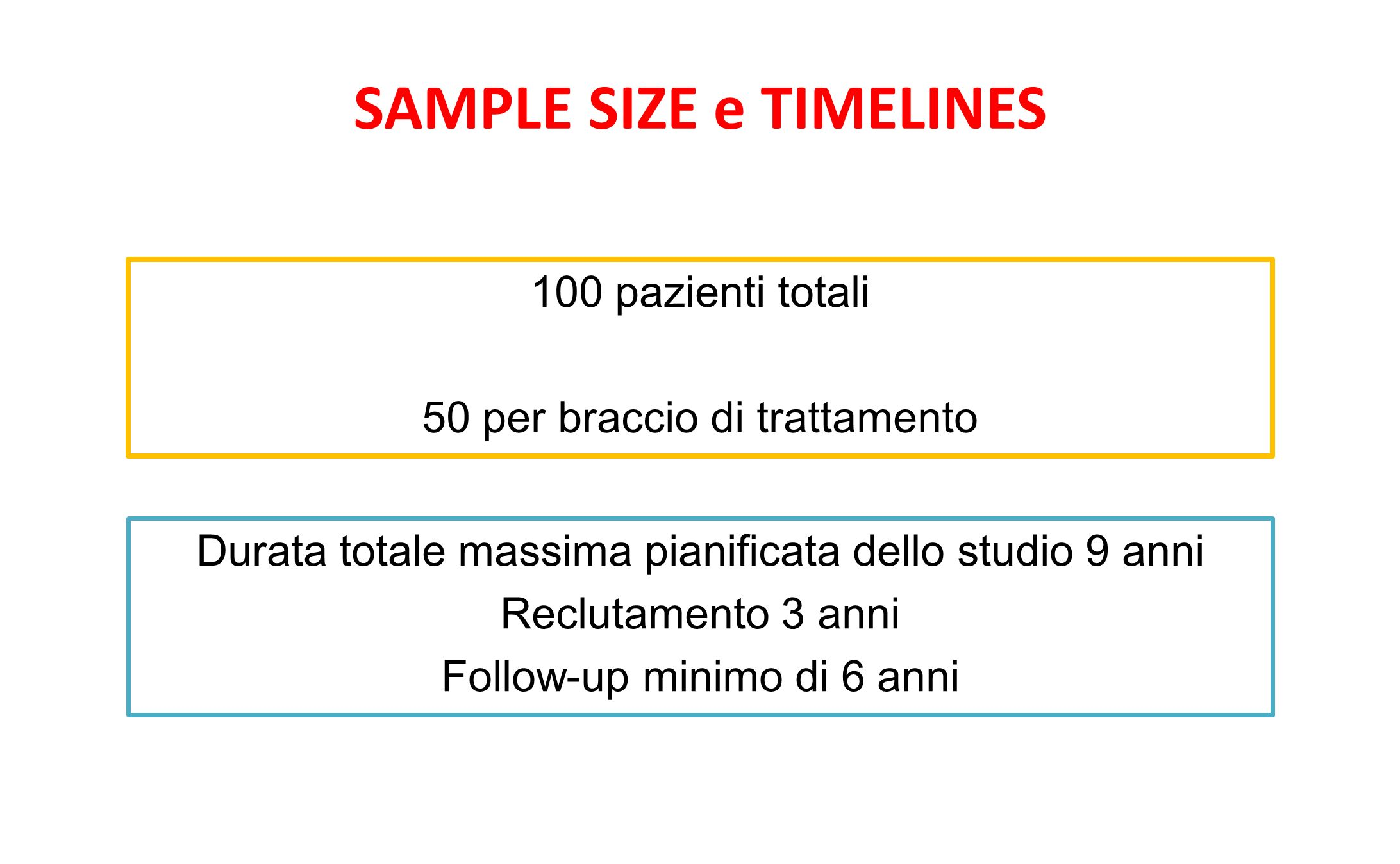 SAMPLE SIZE e TIMELINES