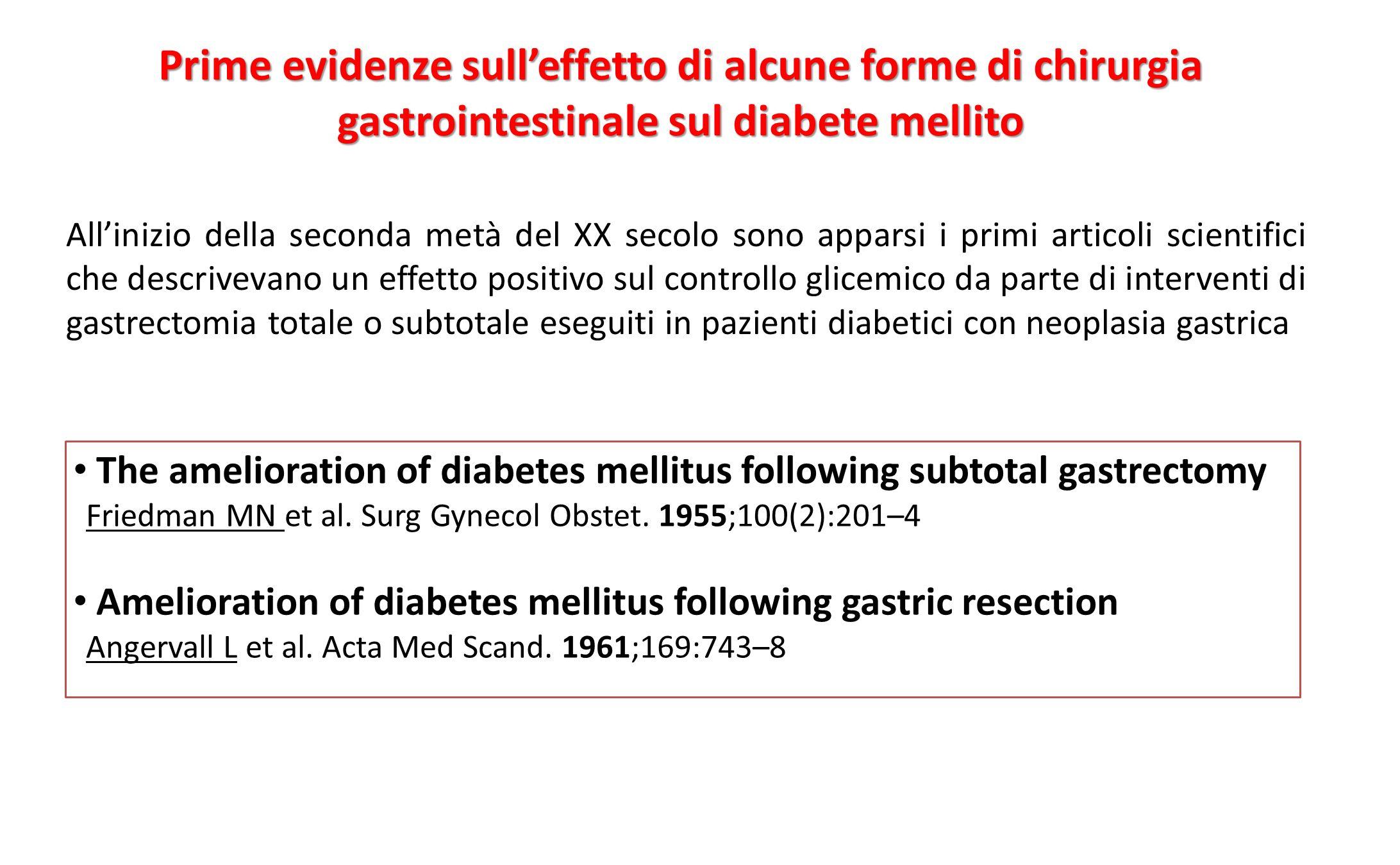 Prime evidenze sull'effetto di alcune forme di chirurgia gastrointestinale sul diabete mellito