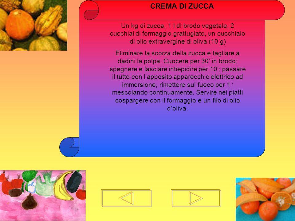 CREMA DI ZUCCAUn kg di zucca, 1 l di brodo vegetale, 2 cucchiai di formaggio grattugiato, un cucchiaio di olio extravergine di oliva (10 g)