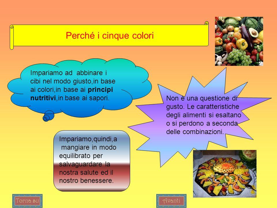 Perché i cinque colori Impariamo ad abbinare i cibi nel modo giusto,in base ai colori,in base ai principi nutritivi,in base ai sapori.