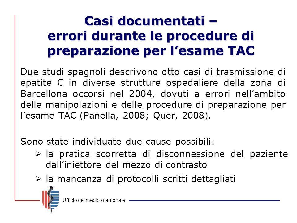 Casi documentati – errori durante le procedure di preparazione per l'esame TAC