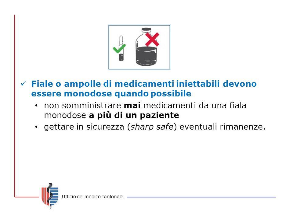 Fiale o ampolle di medicamenti iniettabili devono essere monodose quando possibile