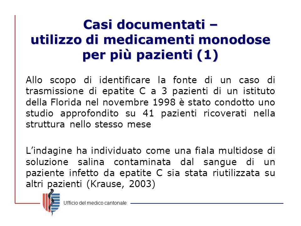 Casi documentati – utilizzo di medicamenti monodose per più pazienti (1)