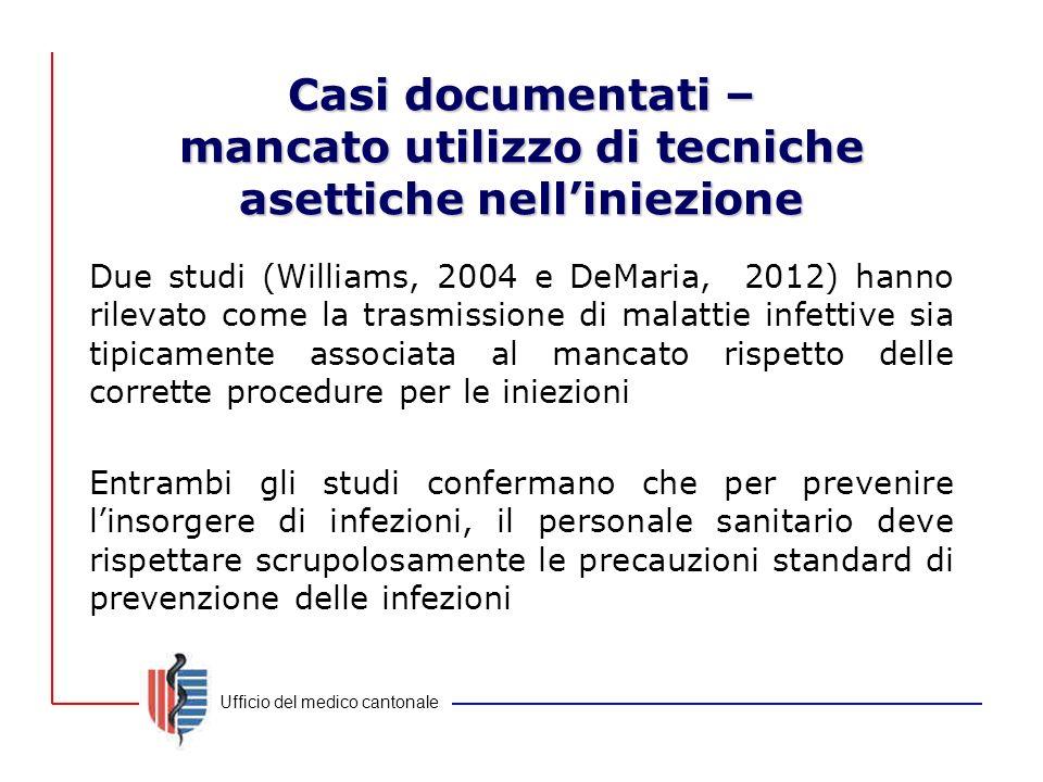 Casi documentati – mancato utilizzo di tecniche asettiche nell'iniezione