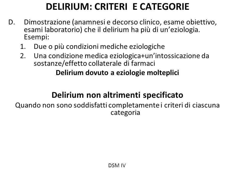 DELIRIUM: CRITERI E CATEGORIE