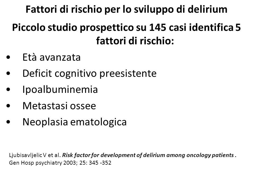 Fattori di rischio per lo sviluppo di delirium