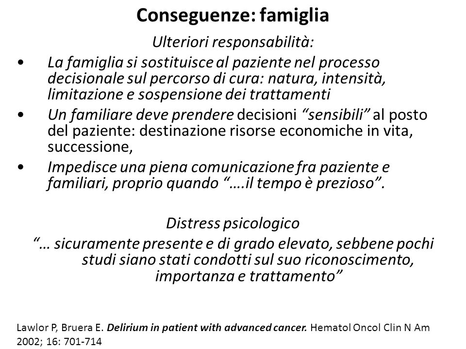 Conseguenze: famiglia