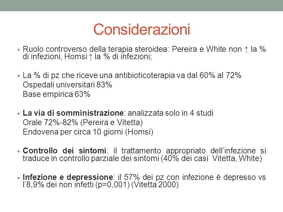 Considerazioni Ruolo controverso della terapia steroidea: Pereira e White non ↑ la % di infezioni, Homsi ↑ la % di infezioni;