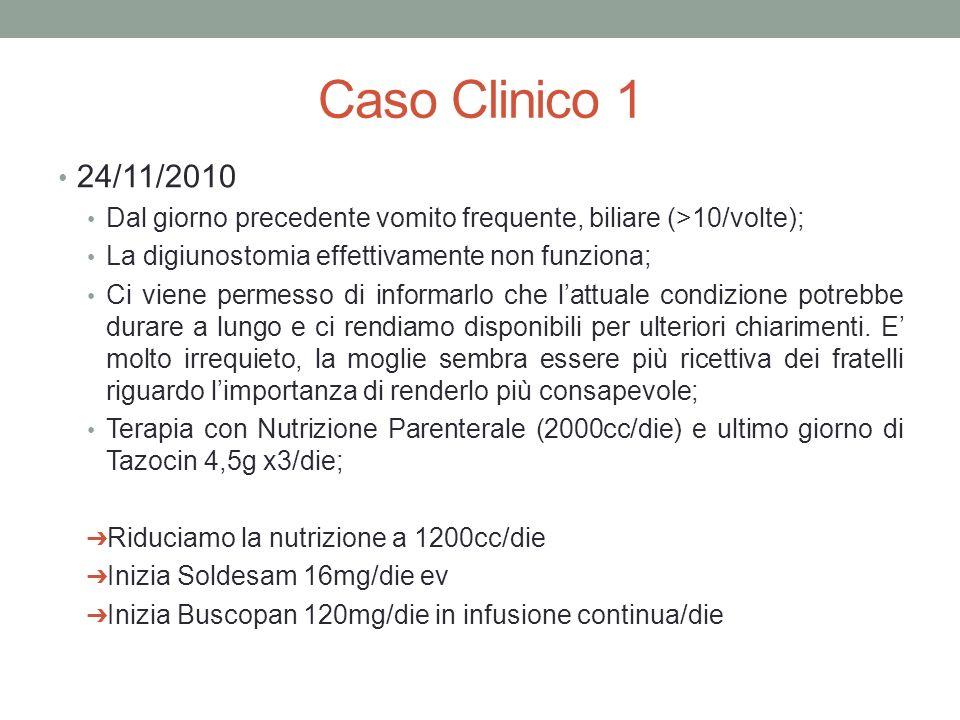 Caso Clinico 1 24/11/2010. Dal giorno precedente vomito frequente, biliare (>10/volte); La digiunostomia effettivamente non funziona;