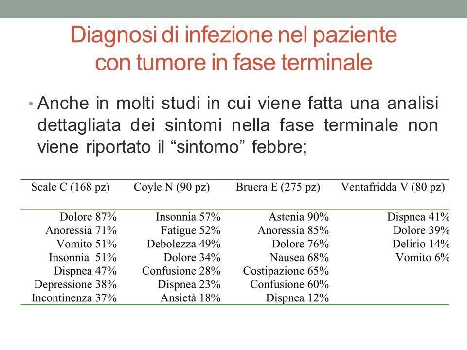 Diagnosi di infezione nel paziente con tumore in fase terminale