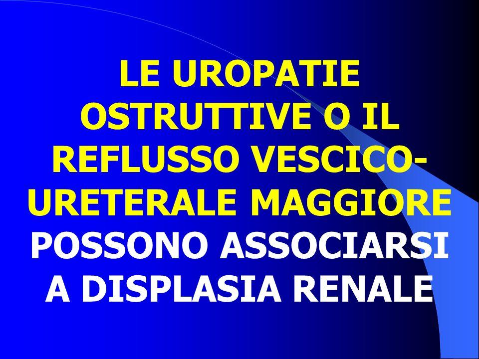 LE UROPATIE OSTRUTTIVE O IL REFLUSSO VESCICO-URETERALE MAGGIORE POSSONO ASSOCIARSI A DISPLASIA RENALE