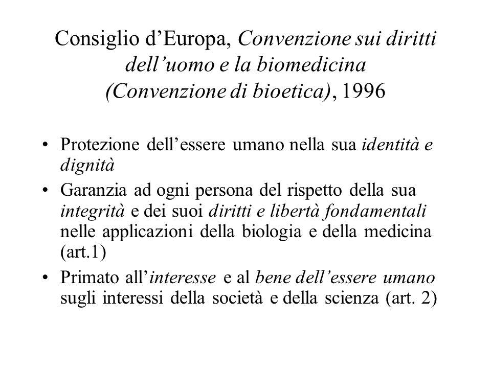 Consiglio d'Europa, Convenzione sui diritti dell'uomo e la biomedicina (Convenzione di bioetica), 1996