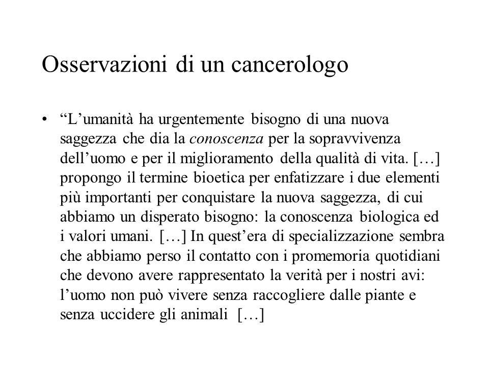 Osservazioni di un cancerologo