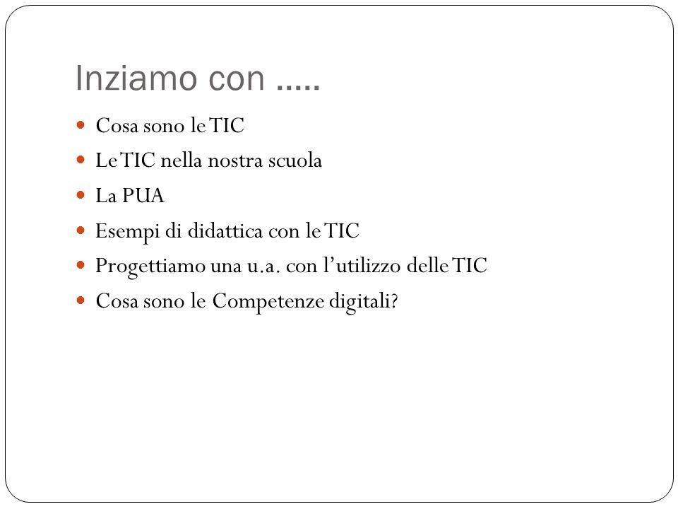 Inziamo con ..... Cosa sono le TIC Le TIC nella nostra scuola La PUA