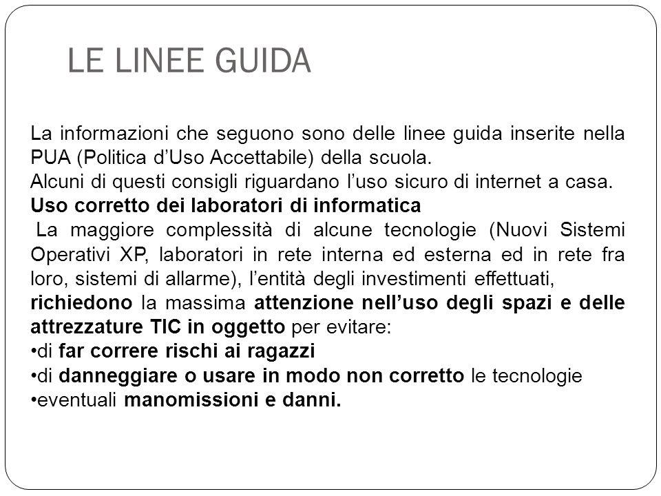 LE LINEE GUIDA La informazioni che seguono sono delle linee guida inserite nella PUA (Politica d'Uso Accettabile) della scuola.