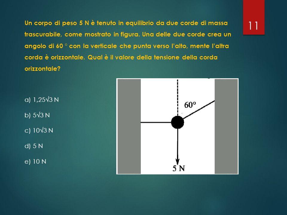 Un corpo di peso 5 N è tenuto in equilibrio da due corde di massa trascurabile, come mostrato in figura. Una delle due corde crea un angolo di 60 ° con la verticale che punta verso l'alto, mente l'altra corda è orizzontale. Qual è il valore della tensione della corda orizzontale