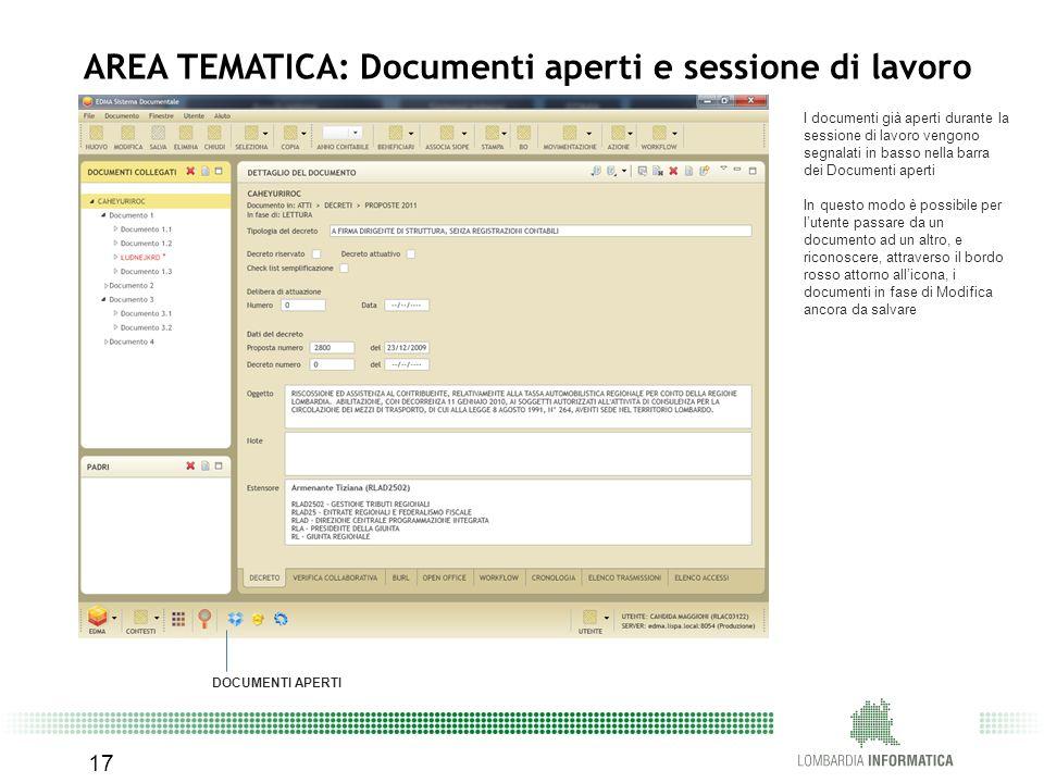 AREA TEMATICA: Documenti aperti e sessione di lavoro