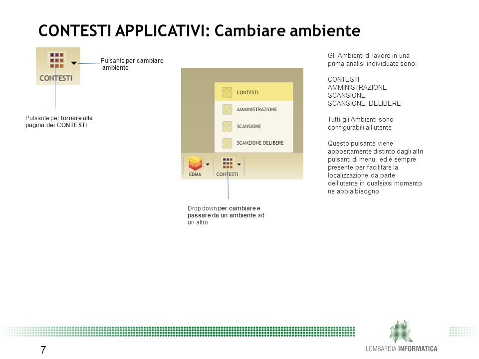 CONTESTI APPLICATIVI: Cambiare ambiente
