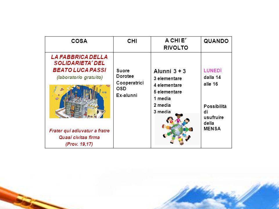 LA FABBRICA DELLA SOLIDARIETA' DEL BEATO LUCA PASSI Alunni 3 + 3