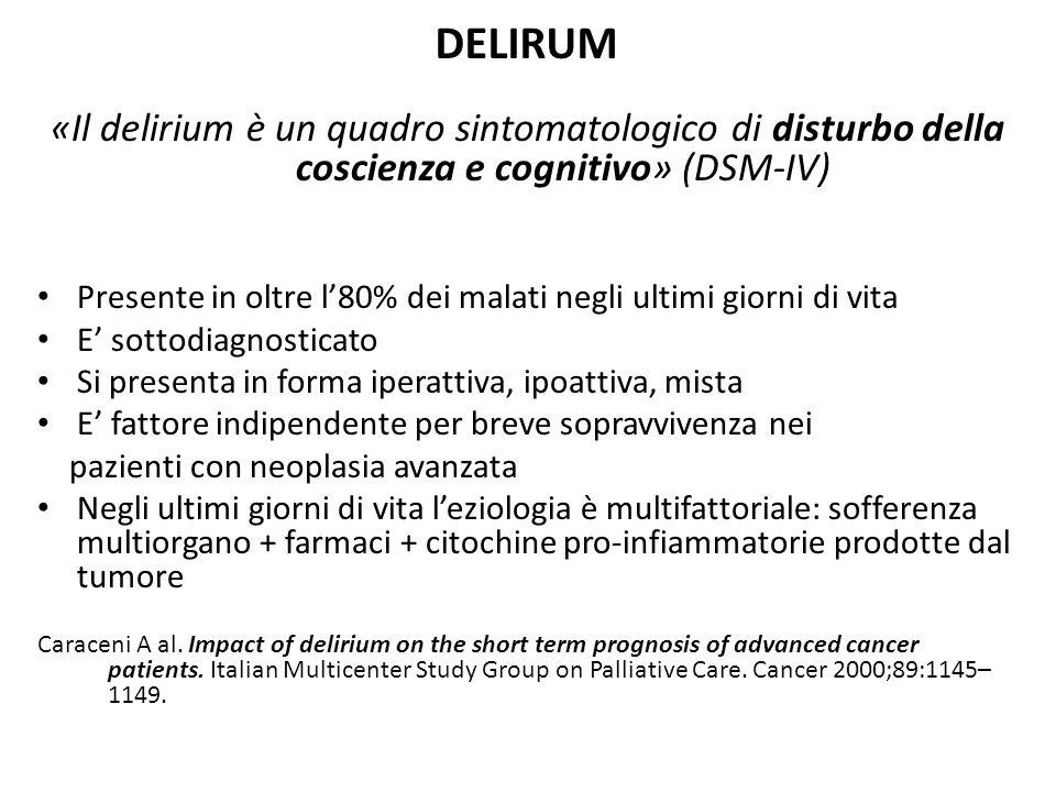 DELIRUM «Il delirium è un quadro sintomatologico di disturbo della coscienza e cognitivo» (DSM-IV)