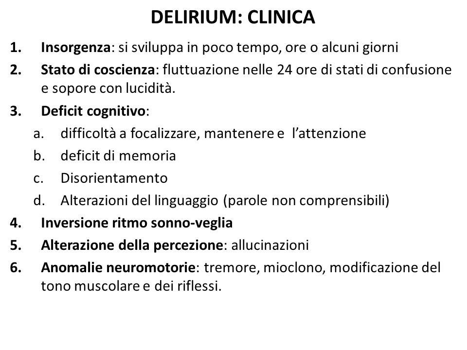 DELIRIUM: CLINICA Insorgenza: si sviluppa in poco tempo, ore o alcuni giorni.