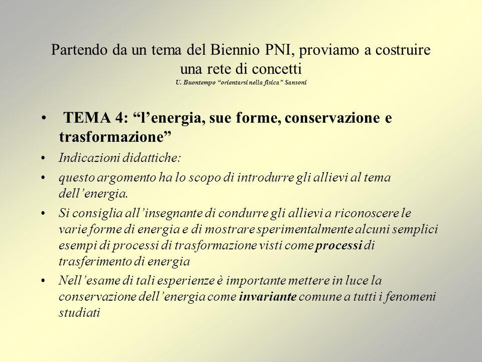 TEMA 4: l'energia, sue forme, conservazione e trasformazione