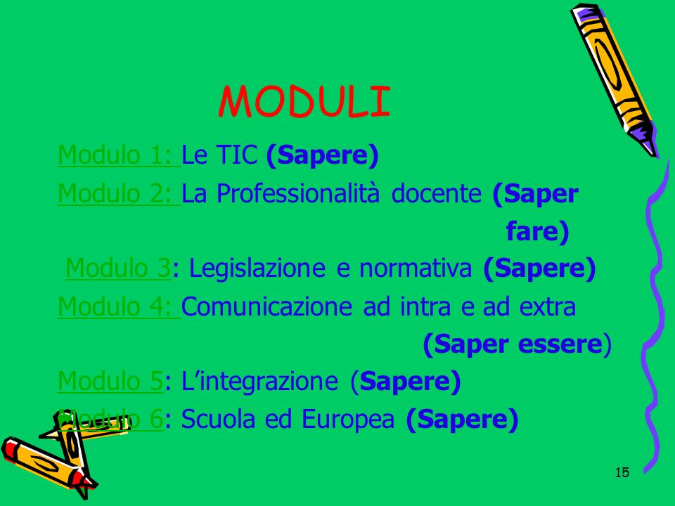 MODULI Modulo 1: Le TIC (Sapere)
