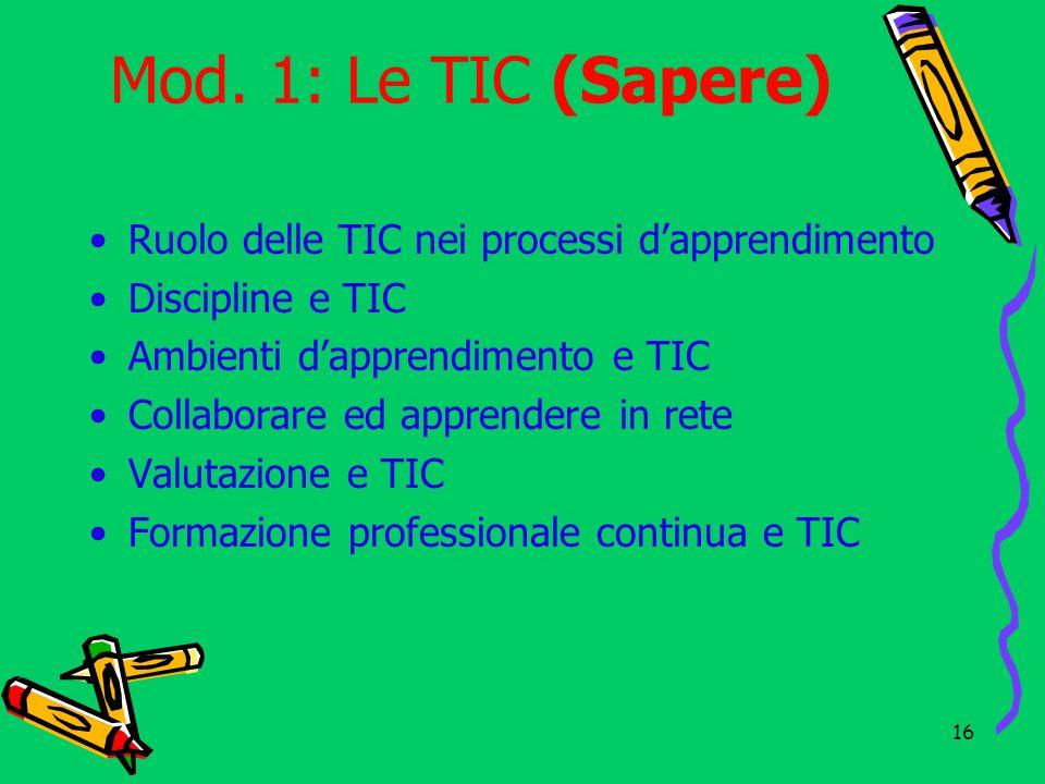 Mod. 1: Le TIC (Sapere) Ruolo delle TIC nei processi d'apprendimento
