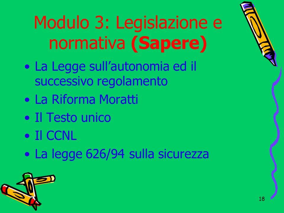 Modulo 3: Legislazione e normativa (Sapere)