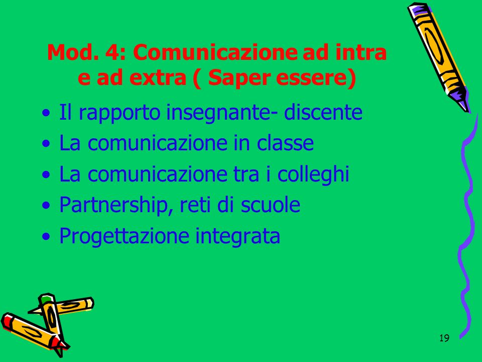 Mod. 4: Comunicazione ad intra e ad extra ( Saper essere)