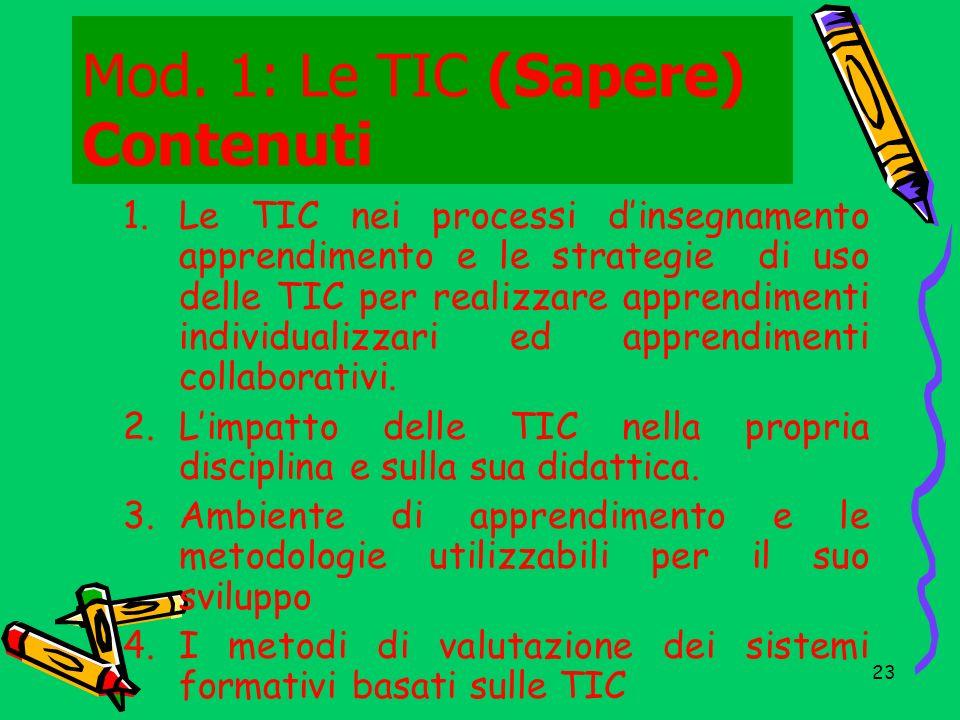 Mod. 1: Le TIC (Sapere) Contenuti