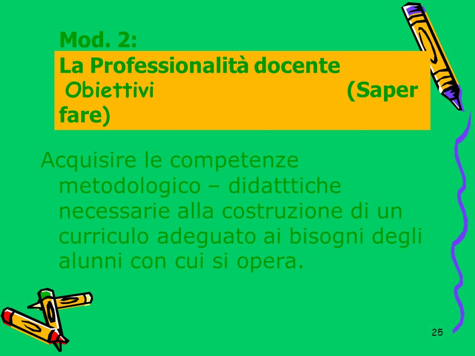 Mod. 2: La Professionalità docente Obiettivi (Saper fare)