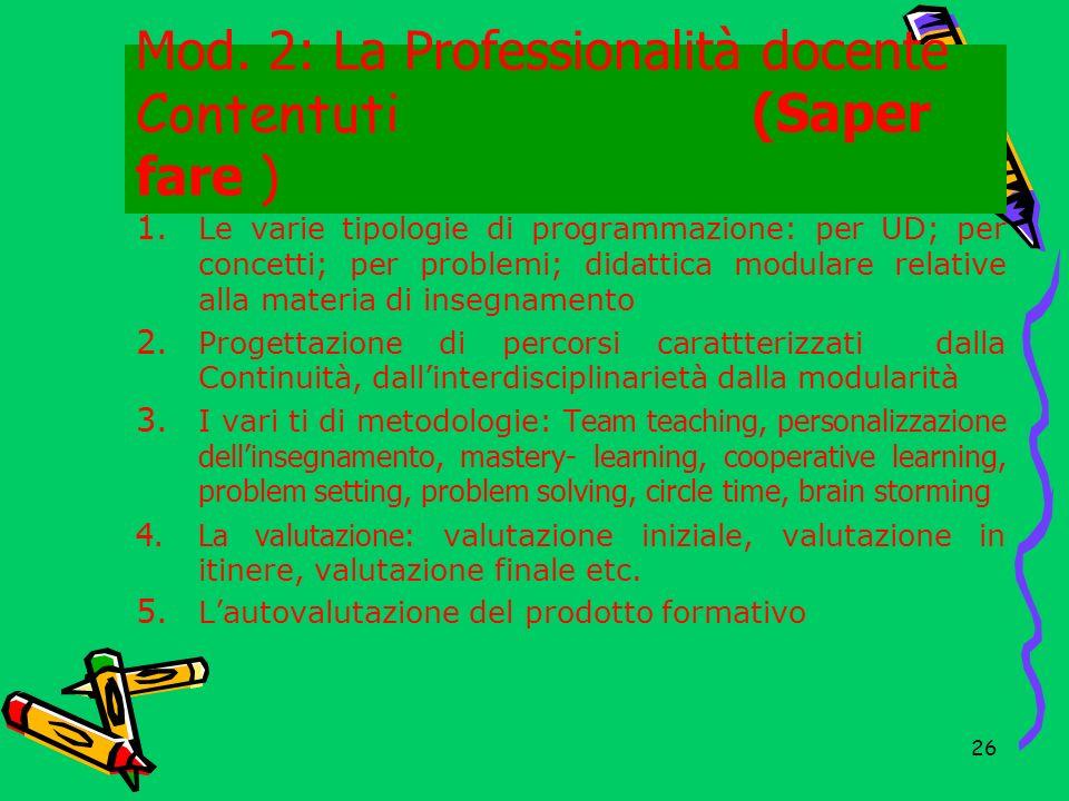 Mod. 2: La Professionalità docente Contentuti (Saper fare )