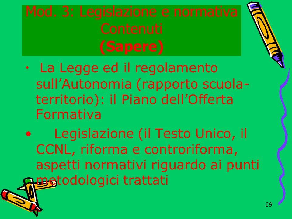Mod. 3: Legislazione e normativa Contenuti (Sapere)