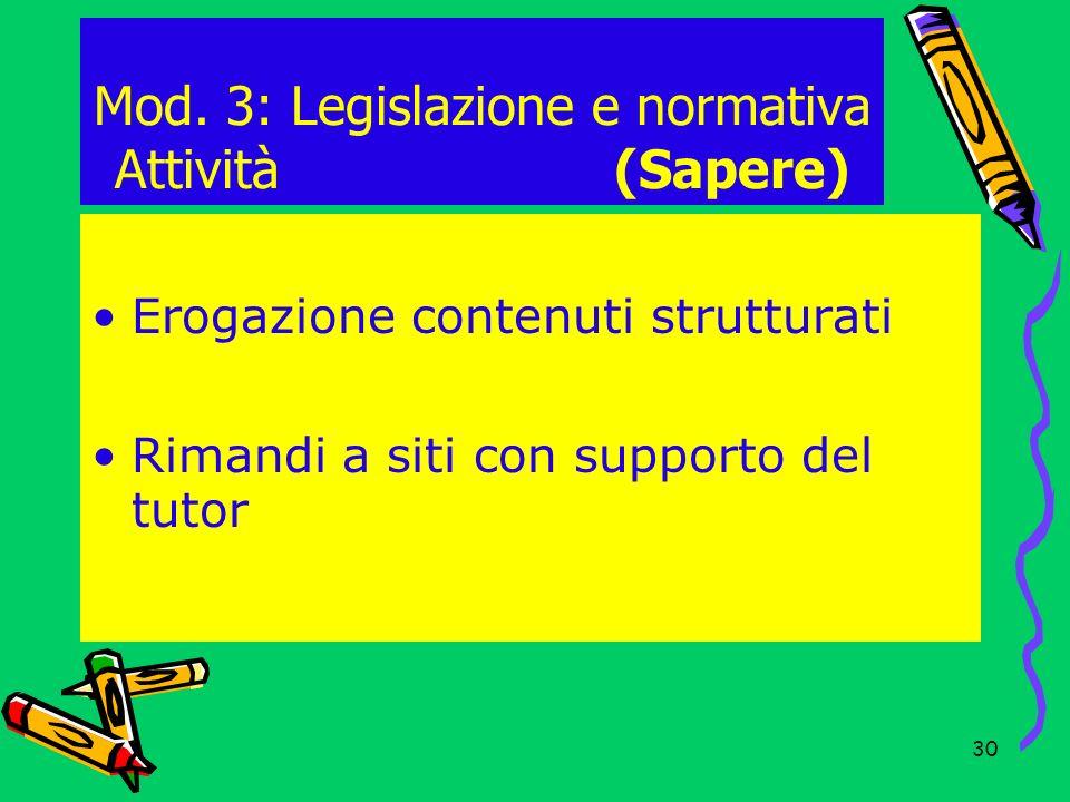 Mod. 3: Legislazione e normativa Attività (Sapere)
