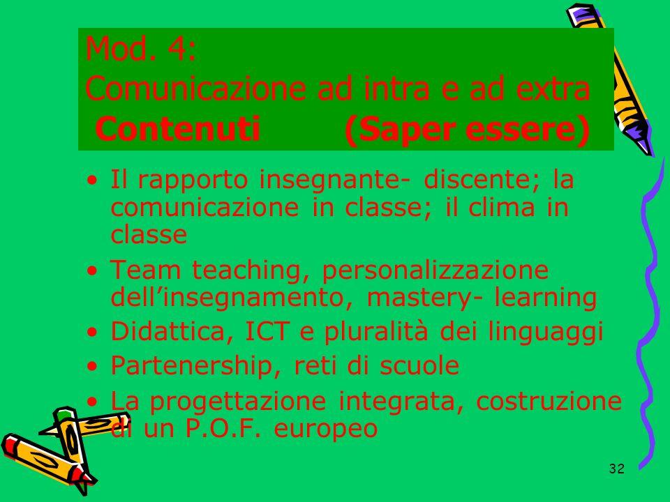Mod. 4: Comunicazione ad intra e ad extra Contenuti (Saper essere))
