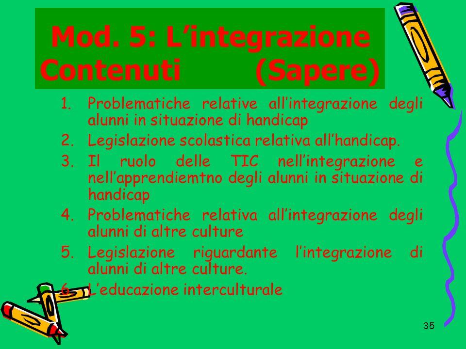 Mod. 5: L'integrazione Contenuti (Sapere)