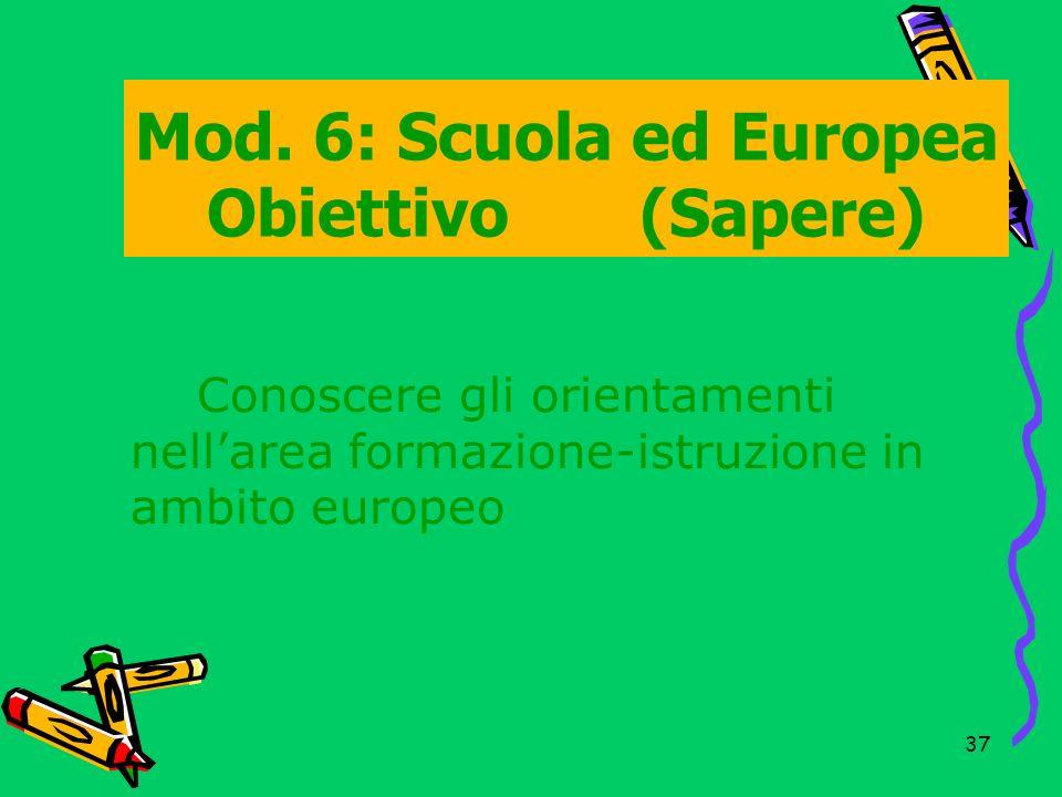 Mod. 6: Scuola ed Europea Obiettivo (Sapere)